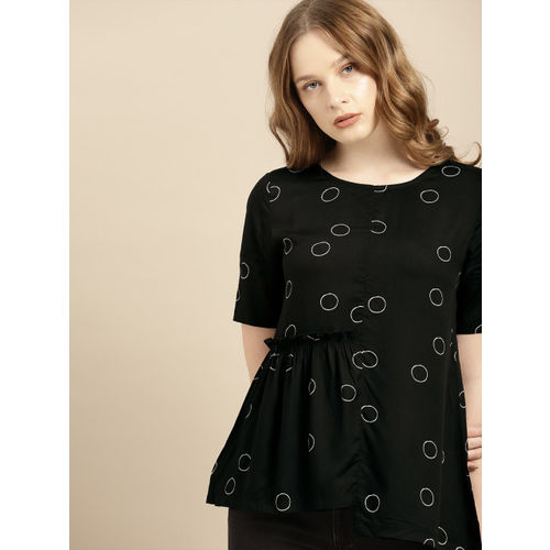 ether Women Black & White Printed Top