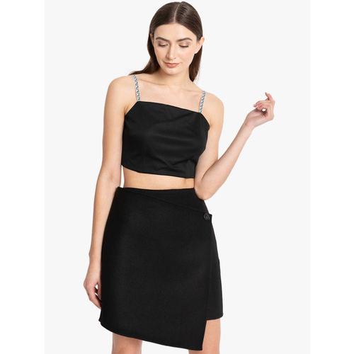 Kazo Women Black Solid Crop Top