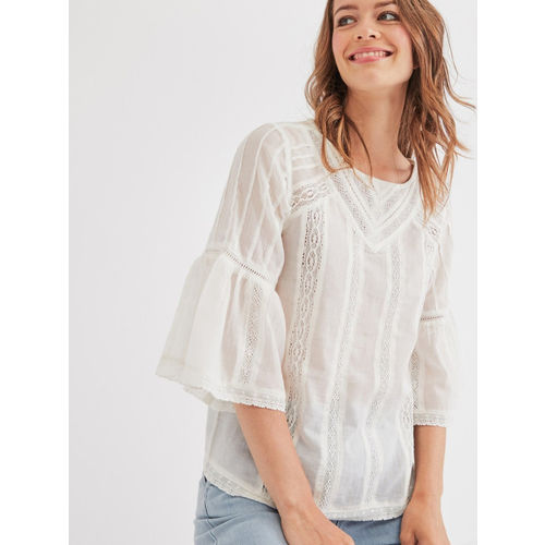promod Women Off-White Solid Top
