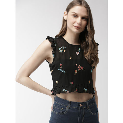 FOREVER 21 Women Black Embroidered Sheer Crop Top