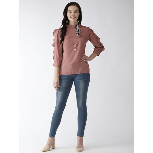 plusS Women Dusty Pink Frill Detail Solid Top with Mini Scarf