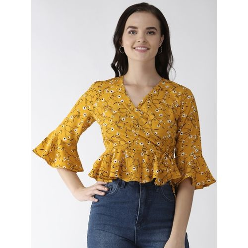 plusS Women Mustard Yellow & Black Printed Wrap Top