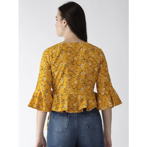 plusS Women Mustard Yellow & Black Printed Wrap Top