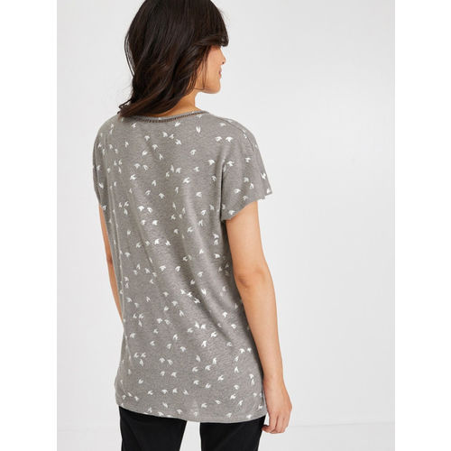 promod Women Grey & Silver-Toned Printed Top