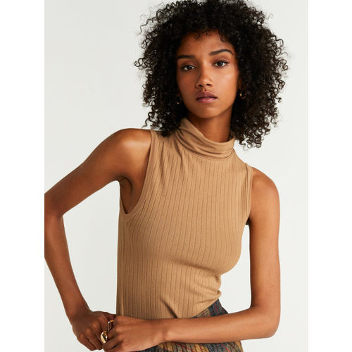 MANGO Women Beige Ribbed Fitted Top