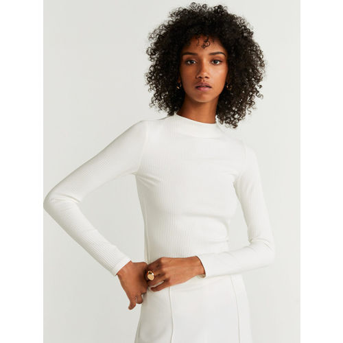 MANGO Women Off-White Self-Striped Fitted Top