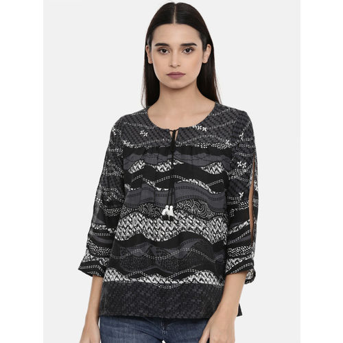 Global Desi Women Black Printed Top
