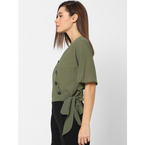 ONLY Women Green Solid Wrap Top