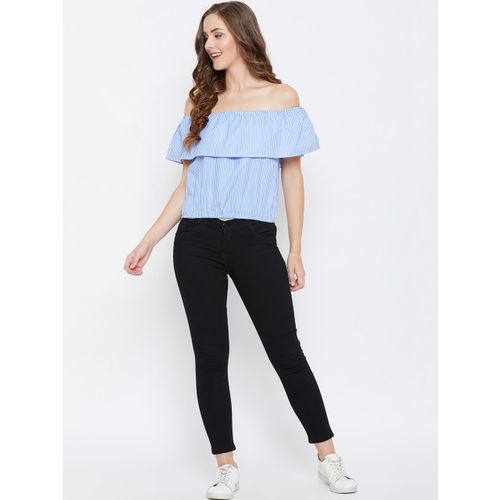 AASK Women Blue & White Striped Bardot Top