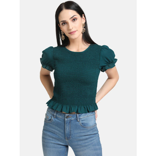 Kazo Women Green Self Design Top