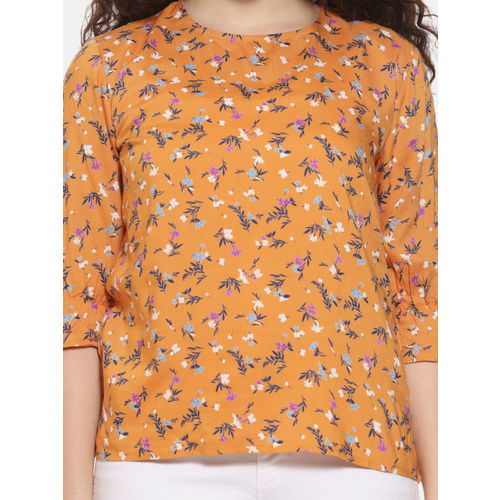 Campus Sutra Women Mustard Yellow Printed Top