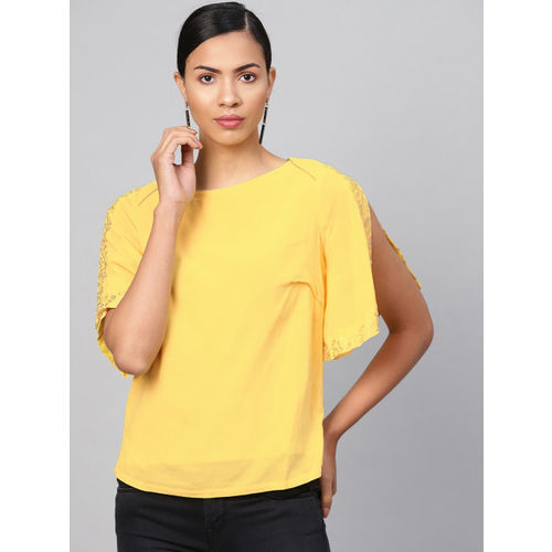 Biba Women Yellow Solid Top