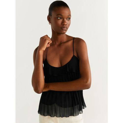 MANGO Women Black Layered Accordian Pleated Solid Top
