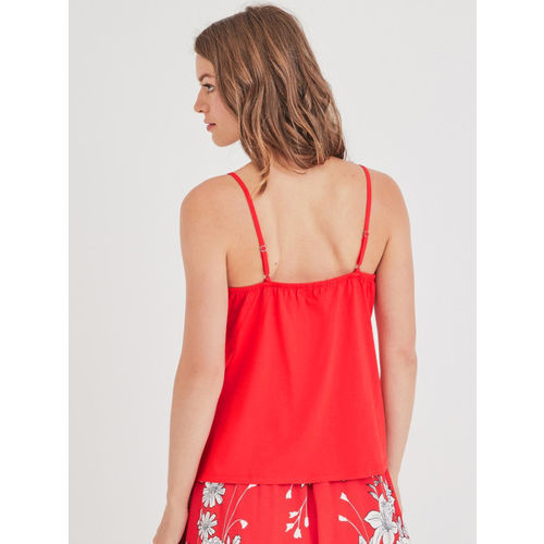 promod Women Coral Red Solid Top