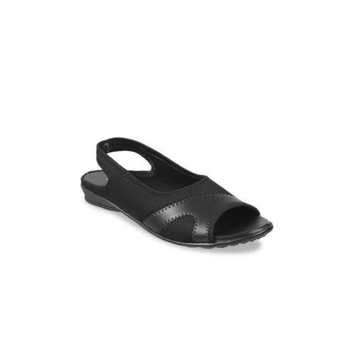 WALKWAY Women Black Solid Open Toe Flats