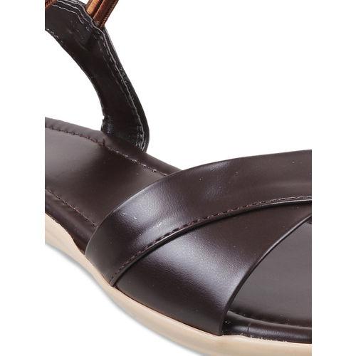 WALKWAY Women Brown Solid Open Toe Flats