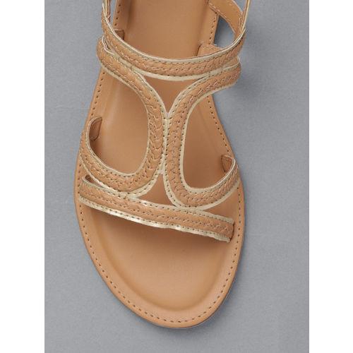 Anouk Women Beige Woven Design Open Toe Flats