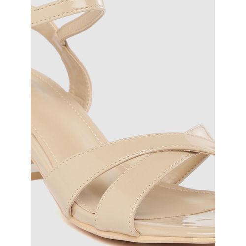 Tresmode Women Beige Solid Open Toe Heels