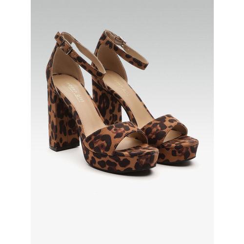Steve Madden Women Brown & Black Leopard Print Mid-Top Platform Heels