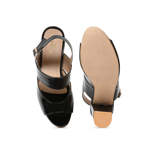 pelle albero Women Black Solid Peep Toes