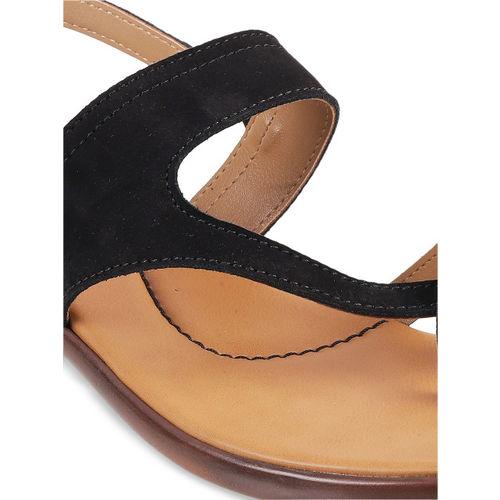 Mochi Women Black Solid Sandals