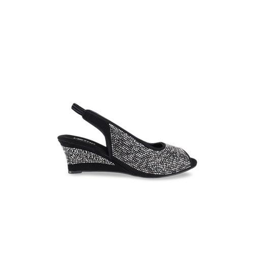 Metro Women Black & Grey Textured Embellished Peep Toes