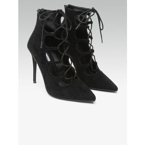 Steve Madden Women Black Solid Lace-Up Pumps