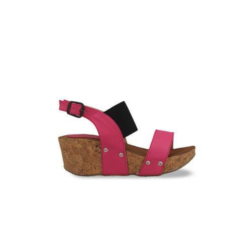 pelle albero Women Pink & Black Colourblocked Sandals
