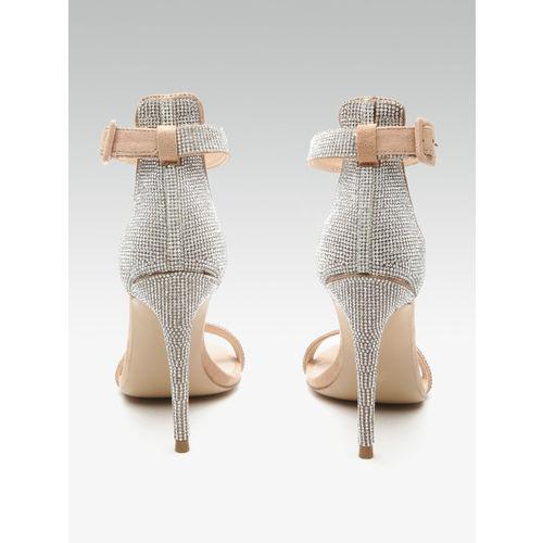 Steve Madden Women Silver-Toned & skin -Coloured Embellished Heels