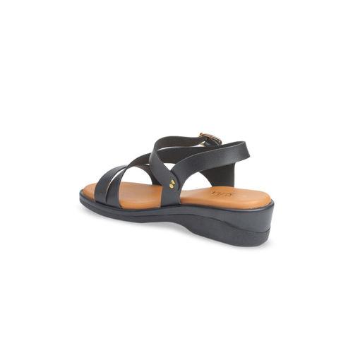 VALIOSAA Women Black Solid Sandals