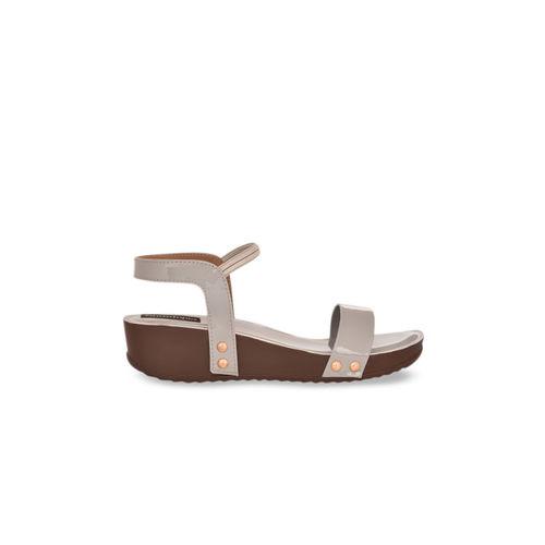 Shoetopia Women Grey Solid Sandals