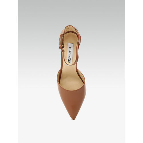 Steve Madden Women Brown Leather Mid-Top Solid Pumps