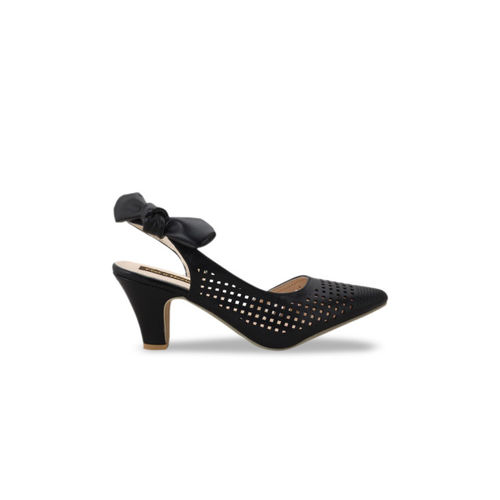 Flat n Heels Women Black Solid Laser Cut Heels