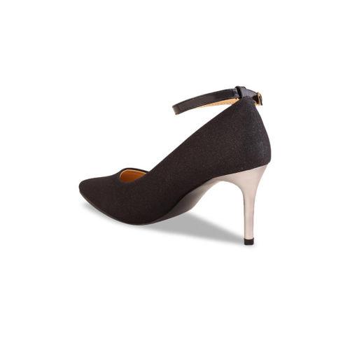 Flat n Heels Women Black Shimmery Pumps