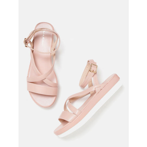 Mast & Harbour Women Peach-Coloured Solid Open Toe Flatforms