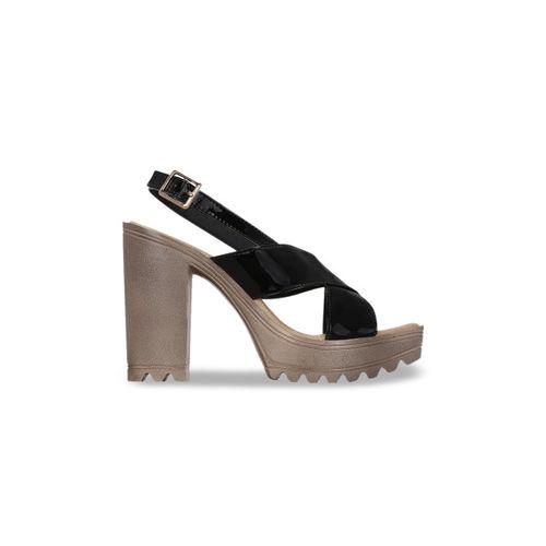 Get Glamr Women Black Solid Sandals