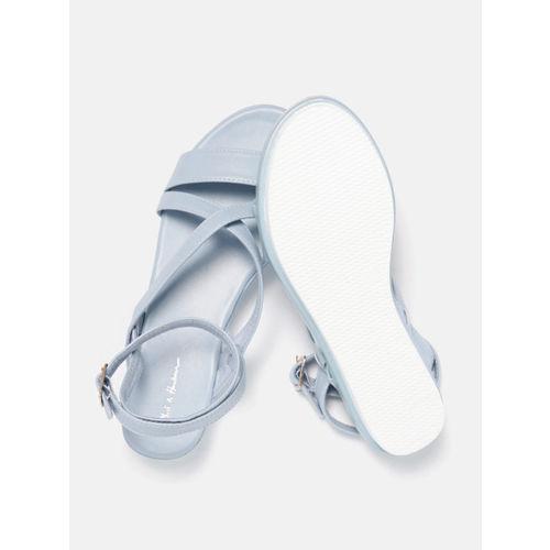 Mast & Harbour Women Blue Solid Open Toe Flatforms