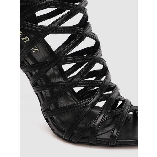 CERIZ Women Black Solid Gladiators