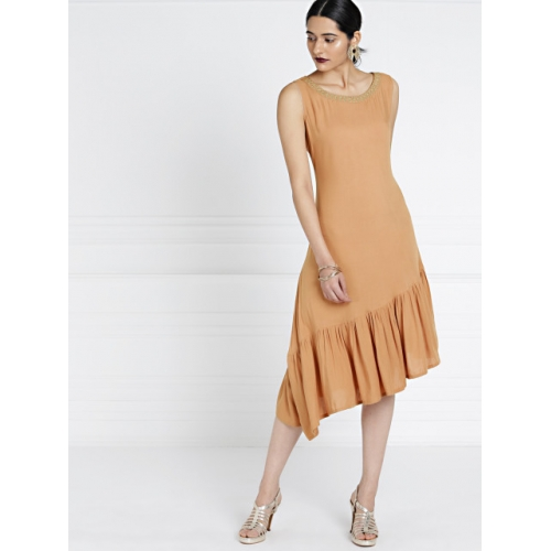 all about you Women Peach-Coloured Solid Drop-Waist Dress