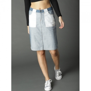 Roadster Women Blue Solid Denim Skirt