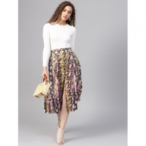 SASSAFRAS Women Pink and Yellow Printed A-Line Skirt