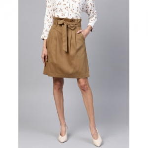 Popnetic Women Olive Brown Solid A-Line Skirt
