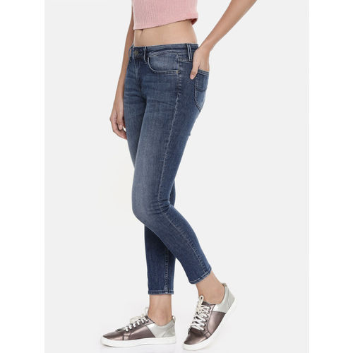 Lee Women Blue Solid Jeggings Skinny Fit Mid-Rise Clean Look Stretchable Cropped Jeans