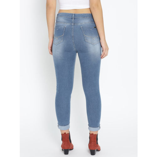 Roadster Women Blue Skinny Fit Mid-Rise Clean Look Cropped Stretchable Jeans
