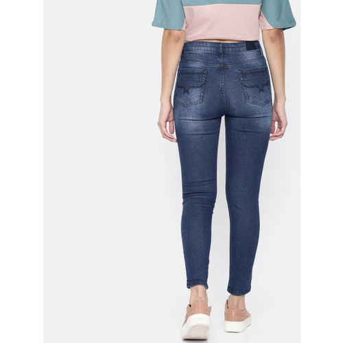 Roadster Women Blue Skinny Fit Mid-Rise Highly Distressed Stretchable Cropped Jeans