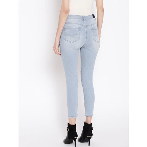 Roadster Women Blue Skinny Fit Mid-Rise Slash Knee Stretchable Jeans