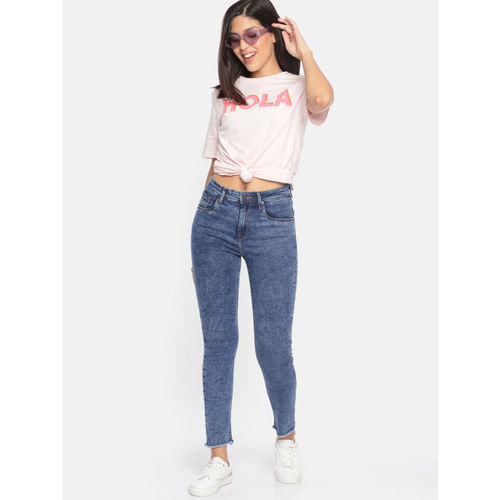HERE&NOW Women Blue Skinny Fit High-Rise Clean Look Stretchable Jeans