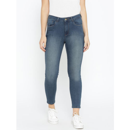 Flying Machine Women Blue Skinny Fit High-Rise Clean Look Stretchable Cropped Jeans