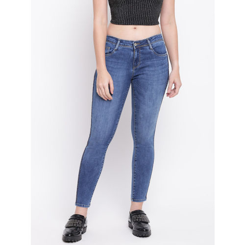 Kraus Jeans Women Blue Skinny Fit Mid-Rise Clean Look Stretchable Jeans