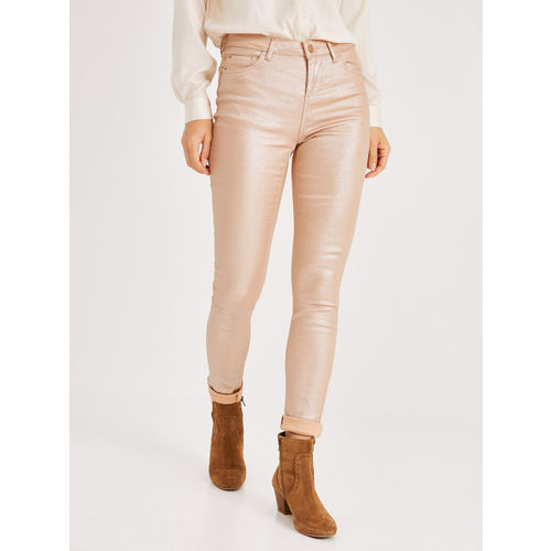 promod Women Pink Skinny Fit Mid-Rise Clean Look Stretchable Jeans